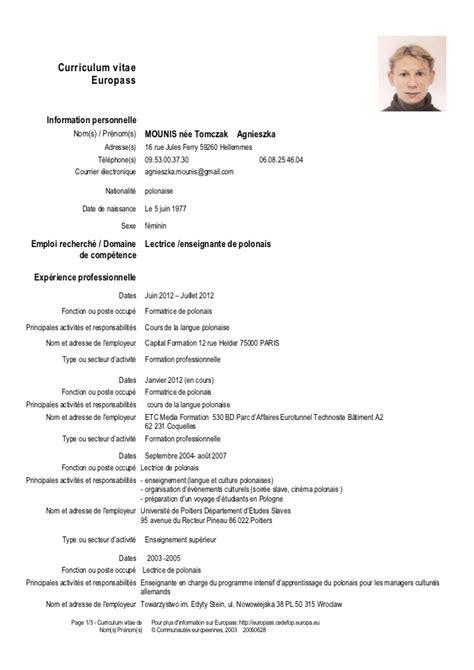 Modèle Cv Franàçais by Resume Format Cv Enseignant Francais