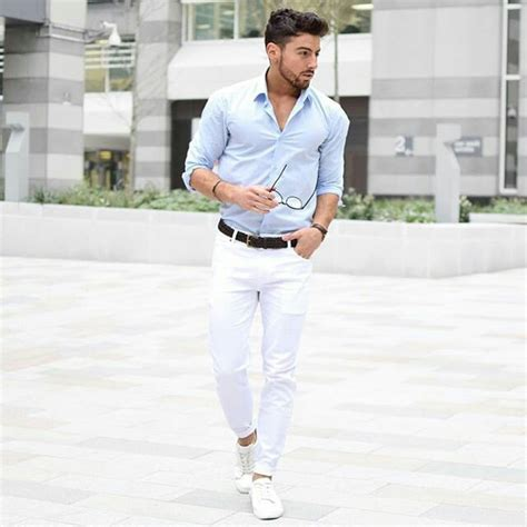 light blue shirt white black belt white shoes