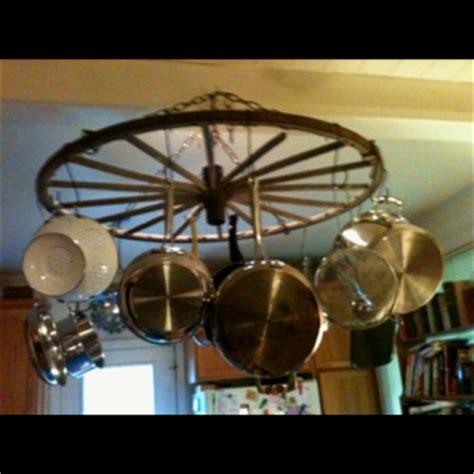 Wagon Wheel Pot Rack wagon wheel pot rack repurposed