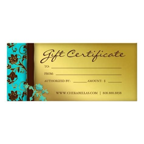 Spa Gift Card Voucher Template by 232 Gift Certificates Salon Spa Gold Floral Gift