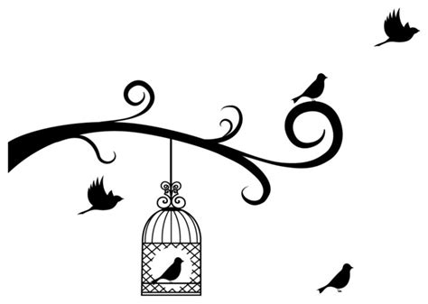 Kids Tree Wall Sticker bird cage and birds with tree branches decal