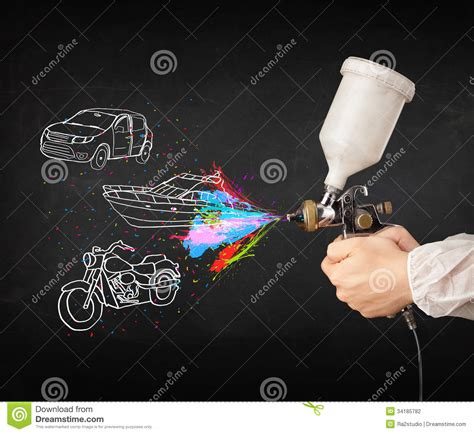 spray painting motorcycle with airbrush spray paint with car boat and