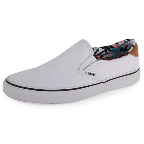 vans c f slip on 59 mens canvas trainers white new shoes