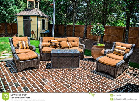 the brick patio furniture brick patio and furniture stock photo image 54734079