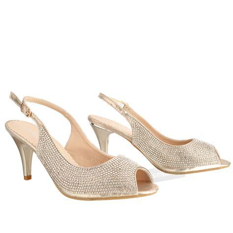 Wedding Shoes Kitten Heel With Peep Toe by Womens Low Kitten Heel Glitter Diamante Peep Toe