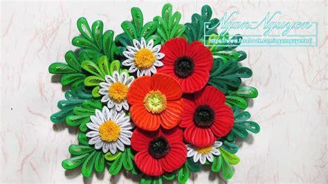 quilling poppy tutorial tutorial quilling poppy flowers 3d diy youtube