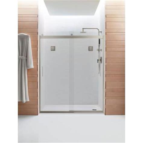 Home Depot Sliding Shower Doors Kohler Levity 59 5 8 In X 74 In Frameless Sliding Shower Door With Handle In Nickel K 706009 L
