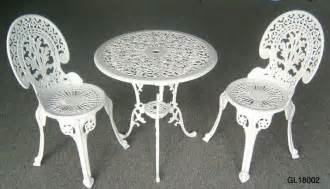 Cast Iron Patio Table And Chairs China Cast Iron 3pc Bistro Table And Chair Set Gl18002 China Bistro Set Garden Furniture
