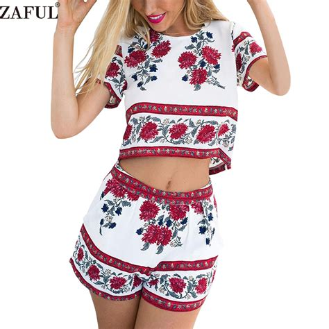 Floral Overall Set 1 zaful summer suits retro rosemary floral crop top shorts set mini boho