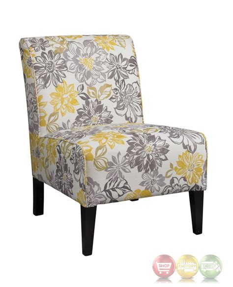 yellow and grey accent chair bridey accent chair with grey and yellow floral pattern