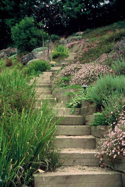 side yard landscaping ideas steep hillside stairs make steep slope easily accessible timber