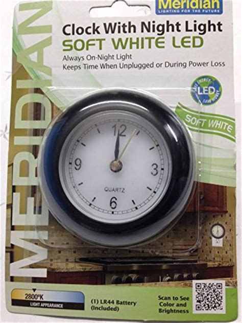 plug in night light clock meridian electric 10742 led analog clock with night light