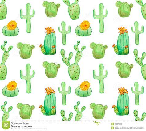 watercolor drawn pattern watercolor cactus seamless pattern stock illustration