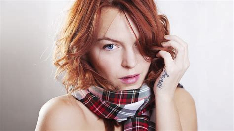 redhead tattoo blue scarf portrait wallpaper