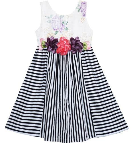 Stripe Floral Dress E40036 Roseyellow dress sleeveless stripes floral printed flower waist fashion