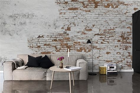 oude muur behang woonkamer stenen behang