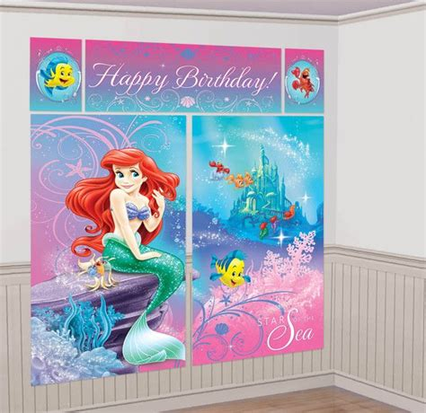themes raya kitty the little mermaid giant scene setter wall decorating kit