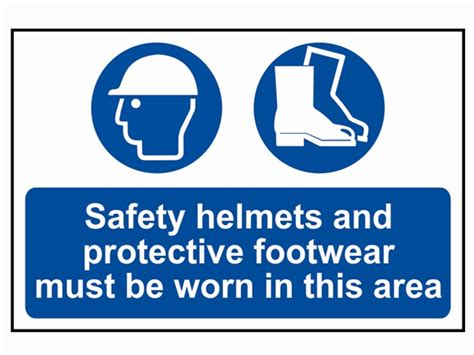 woodwork safety signs safety helmets footwear to be worn pvc 400 x 600mm