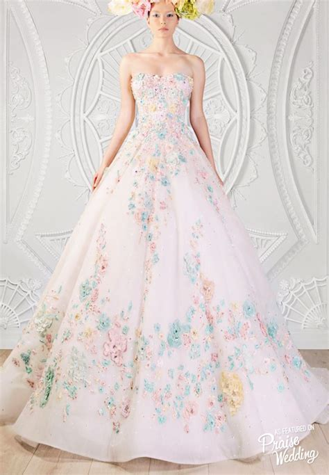 flower design wedding dresses rami kadi elegant wedding gown with pastel floral designs