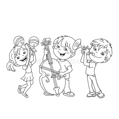 coloring book instrumental coloring page outline of children musical