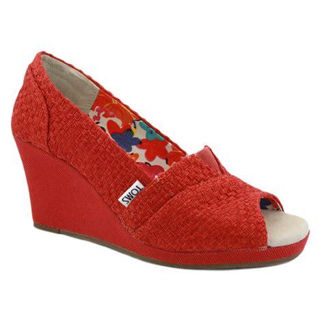 toms wedge womens fabric heels ebay