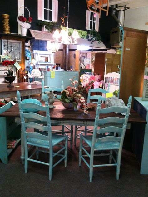 turquoise painted farm table chairs see at chic or