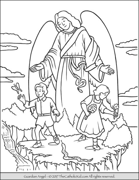 coloring pages of guardian angels guardian angel coloring page
