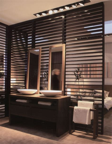 interior partition wall open concept bathroom with wood slat partition for the