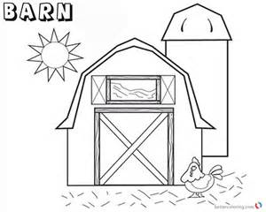 barn coloring pages barn coloring pages barn with chicken and sun free