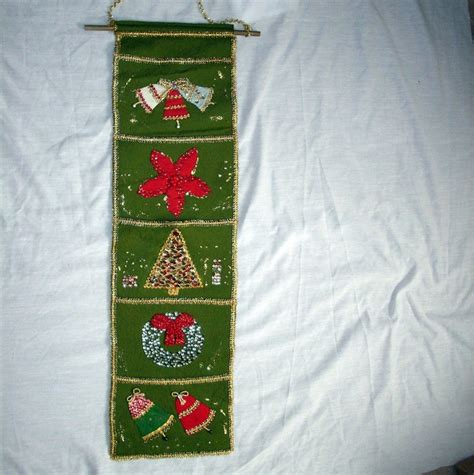 vintage christmas card holder decoration green beautiful handmade beadwork felt wall hanging old