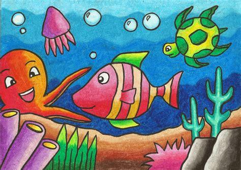 tutorial menggambar fauna lukisan pemandangan alam menggunakan krayon koleksi