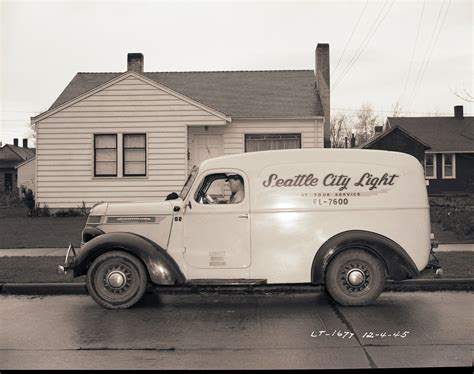 truck seattle international panel truck seattle city light vintage