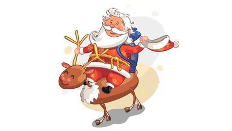 santa riding on reindeer rudolph christmas animation
