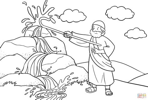 bible coloring page water from the rock moses strikes the rock with his staff coloring page free