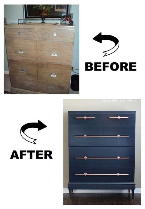 diy copper drawer pulls diy copper pipe drawer pull on navy dresser decoist