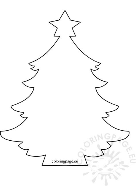 christmas tree  star template coloring page