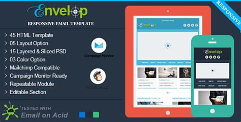 Envelop Responsive Email Template Themekeeper Com Responsive Email Template Html Code