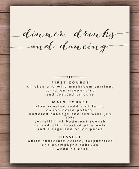 dinner menu template free templates resume