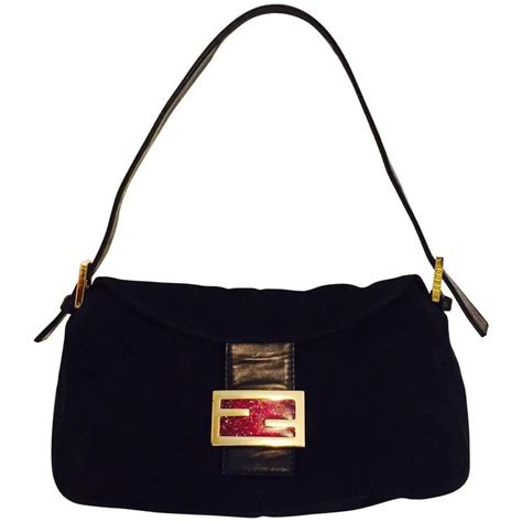 Fendi Silver Sparkle Zucchino Zia Baguette by Iconic Fendi Black Suede Baguette Bag With Gold Tone