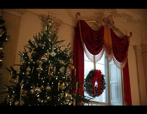 holiday decorations are seen in the grand foyer of the