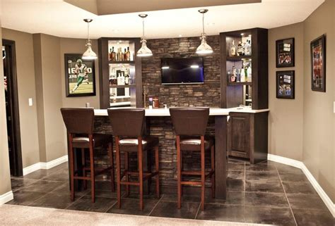 Home Bar Design Houzz Hebert Basement Development Contemporary Basement