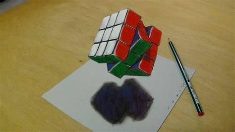 K Drawing 3d by 3d Drawing Floating Rubiks Cube How To Draw 3d Rubiks