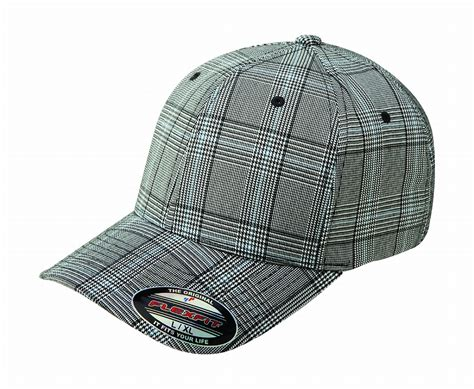 6196 flexfit glen check plaid fitted baseball blank plain