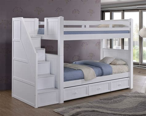 white bunk beds with storage dillon white twin bunk bed with stairway storage