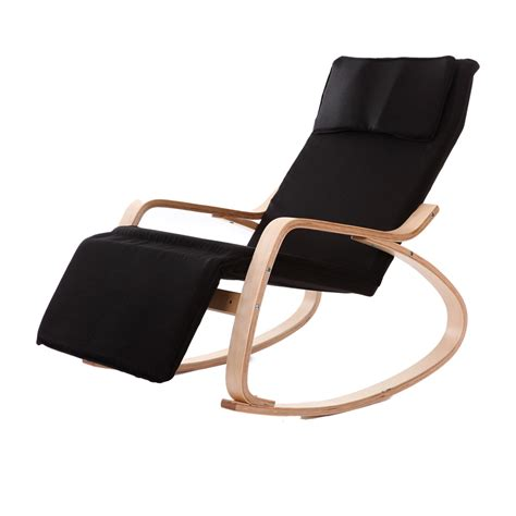 modern chaise lounge chairs living room comfortable relax wood rocking chair with foot rest design