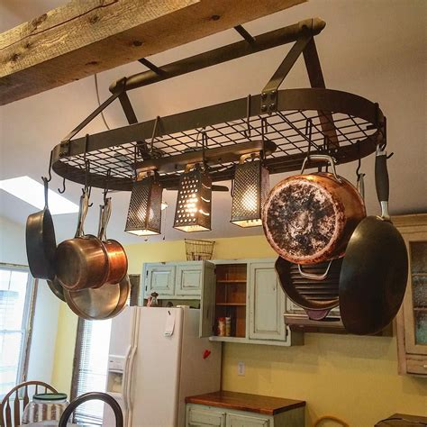 rustiques pot rack ideas hanging pot rack with lights pinteres