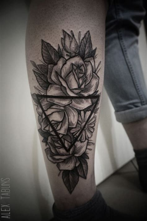 geometric rose tattoo best 268 flower tattoos images on other