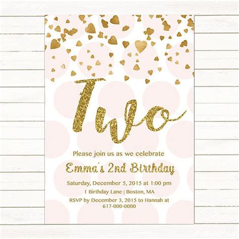 2nd birthday invitation card template pink and gold 2nd birthday invitation by