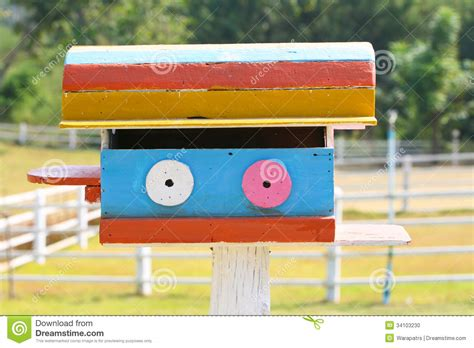 colorful bird houses colorful bird house in farm stock photo image 34103230