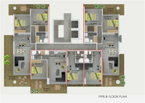 types of apartment layouts offplan property in cyprus floorplans type b